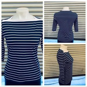 Land End boat neck stripped 3/4 sleeve top
